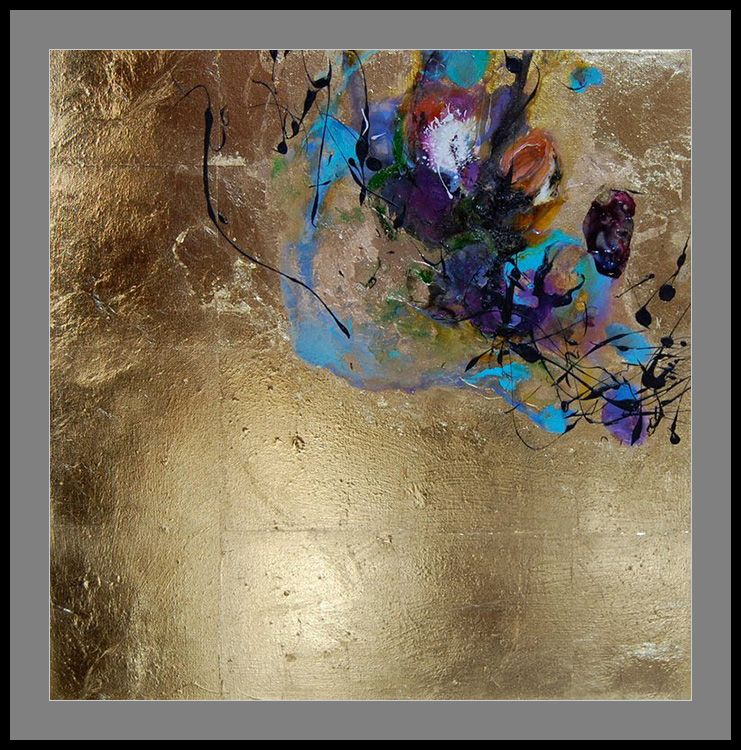abstract painting with oil paint and ink on gold leaf