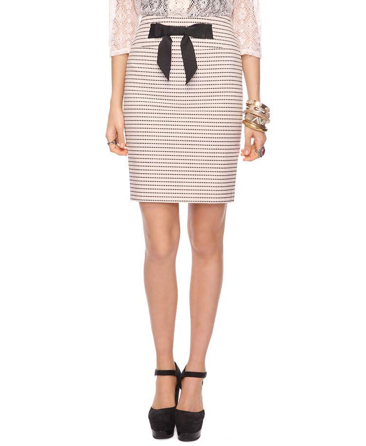 Bow Trim Pencil Skirt