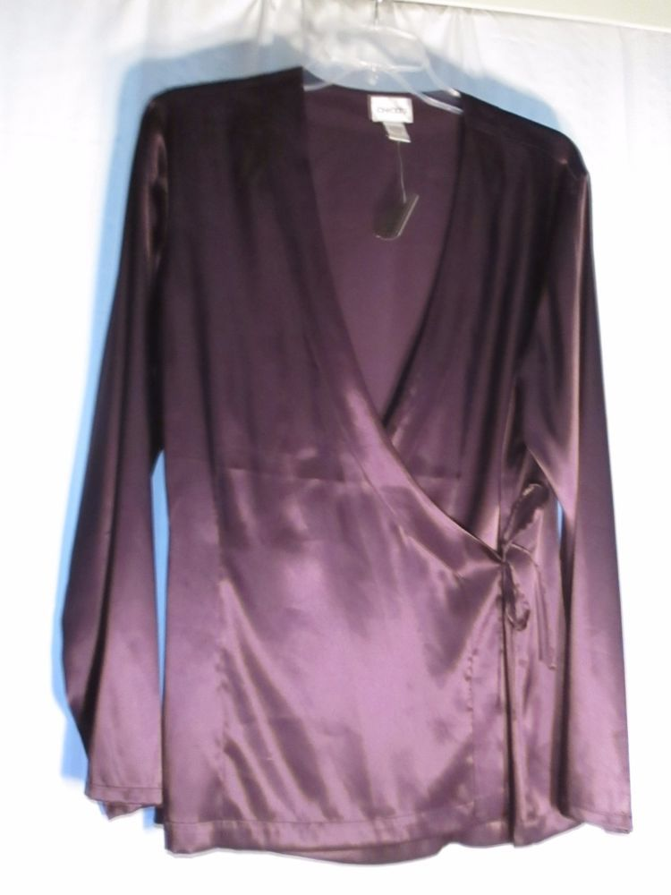 CHICO'S 2 (12/14)  POLYESTER & SPANDEX PURPLE NEW !SIDE TIE BLOUSE-$24.00 #Chicos #Blouse #EveningOccasion