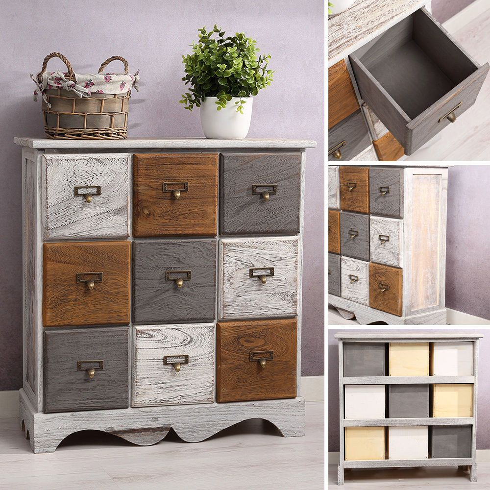 kommode inkl 9 schubladen patchwork shabby look braun grau wei paulowniaholz bathroom. Black Bedroom Furniture Sets. Home Design Ideas