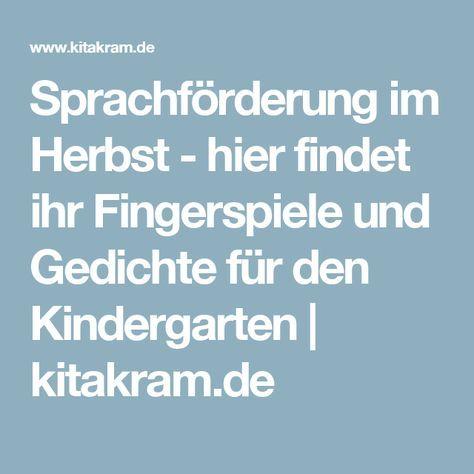 Sprachförderung im Herbst - hier findet ihr Fingerspiele ...