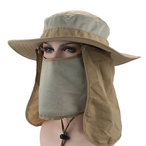 Home Prefer Mens Sun Hat Mesh Bucket Hat Detachable Neck Face Flap Hat  Boonie Hat Khaki     You can get additional details at the image link. f5b72c2f607a