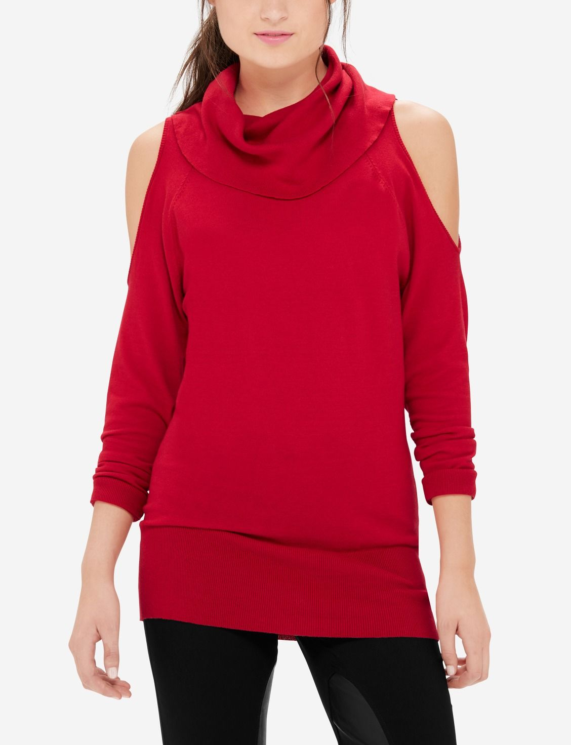 A drapey cowl neck pairs beautifully with an on-trend cold ...
