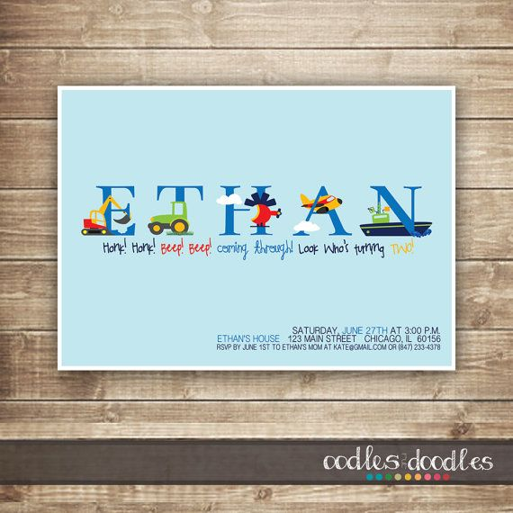 Transportation Birthday Invitation 1st 2nd 3rd Cars Trucks Alphabet Art Boys Printable