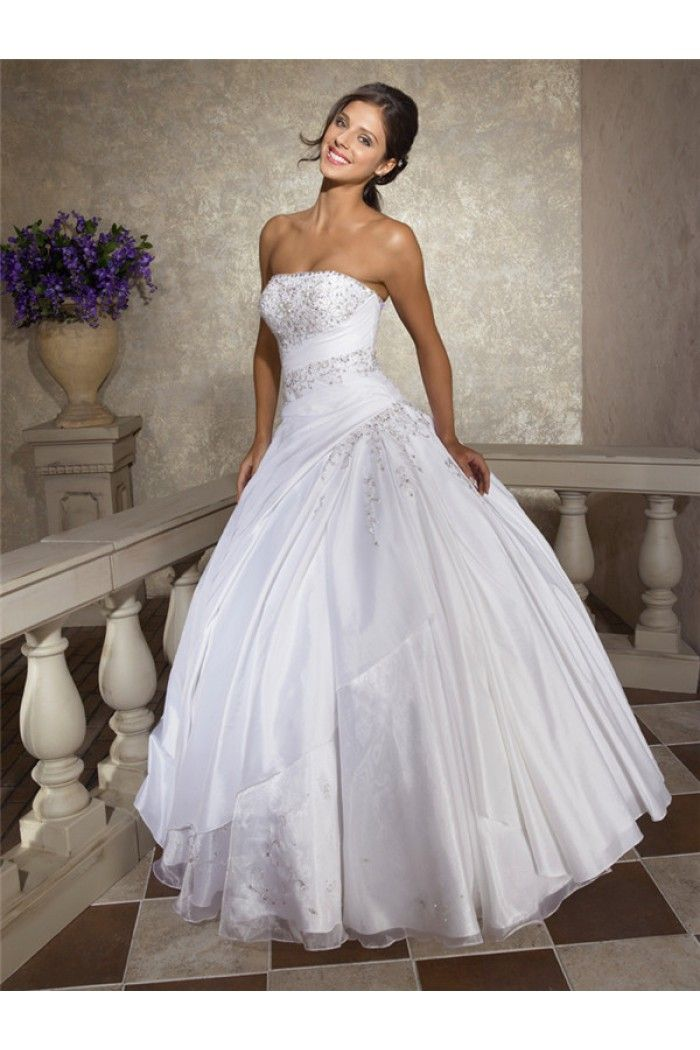 Ball Gown Strapless White Taffeta Organza Beaded Corset Wedding ...