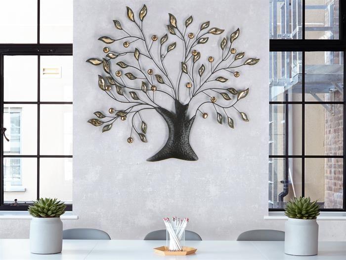 WAND-DEKO Blumenzweig - Pusteblume aus Metall Höhe 71cm - silber - wohnzimmer deko figuren