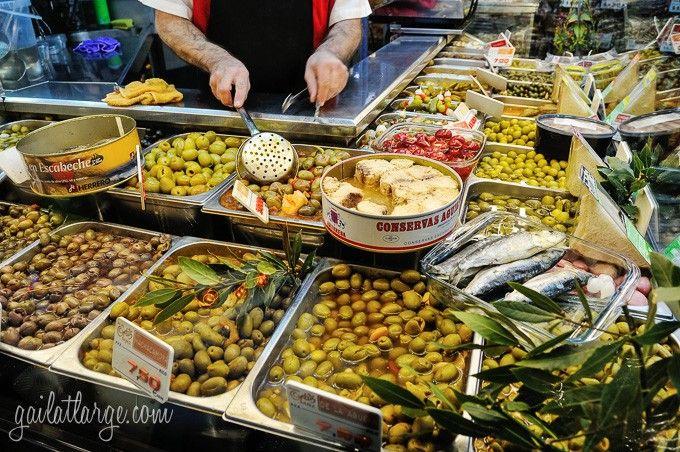 olive bar at Mercado de San Miguel, Madrid