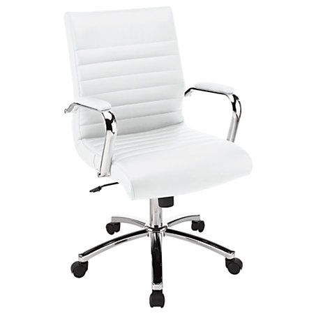 Realspace Winsley Mid Back Chair White By Office Depot Officemax Home Goods Chairs Leather Chair With Ottoman Restoration Hardware Chair