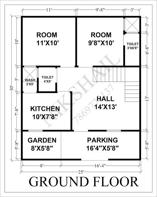 25x30 House Plan With 3d Elevation By Nikshail 20x40 House Plans 2bhk House Plan Simple House Plans Small house plan and elevation