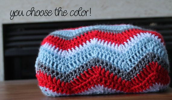 Chevron Afghan Throw Blanket Crochet - Bright Sky Blue Red Grey and ...