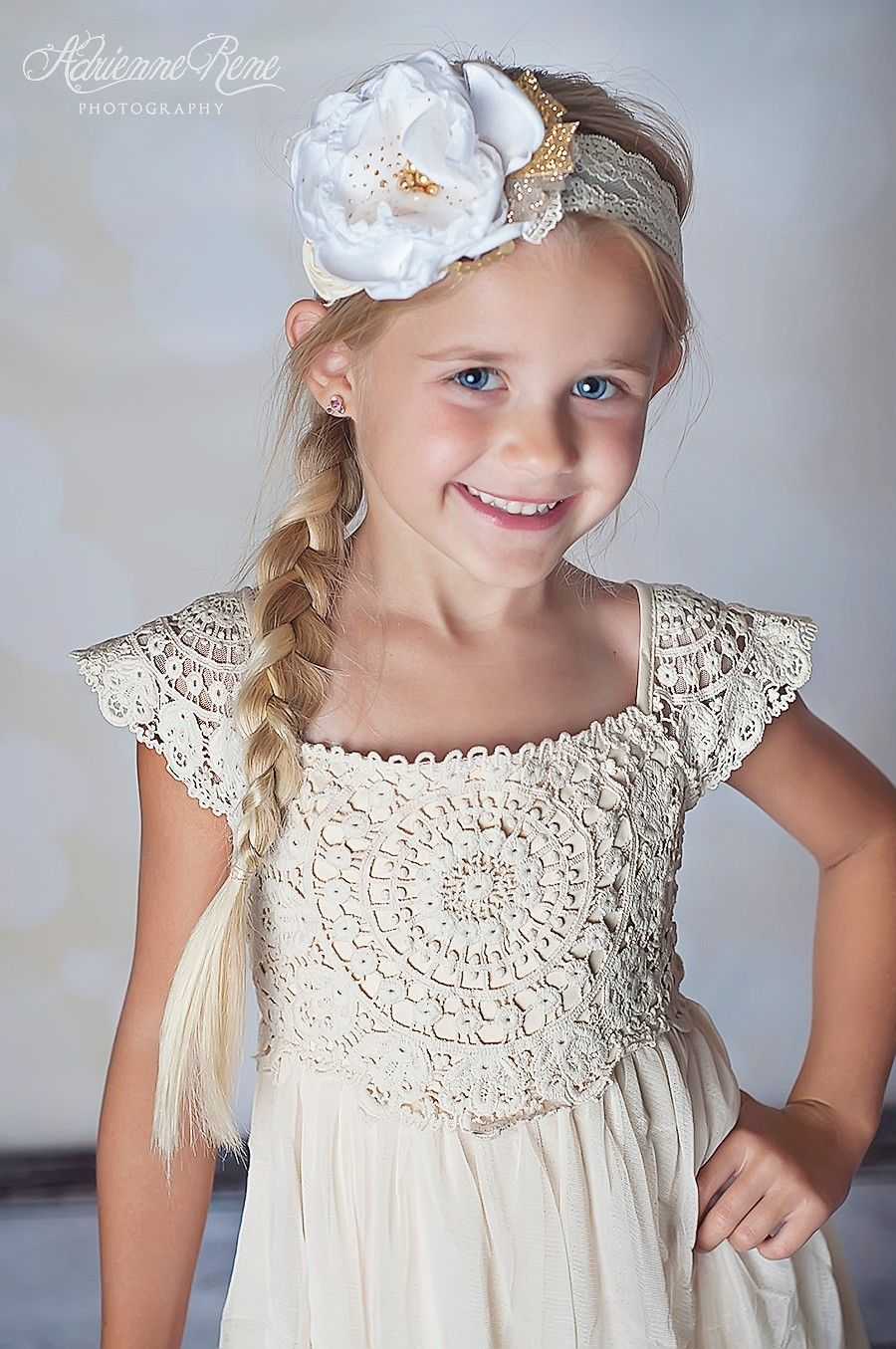 Country chic cream toddler boutique dress crochet lace