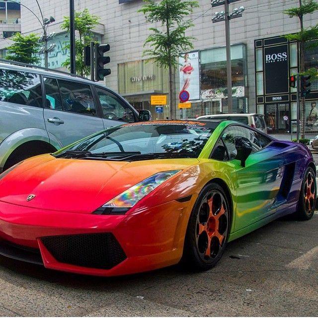 Rainbow Lambo Lamborghini Gallardo Wrap Carsgasm On Ig Chrome