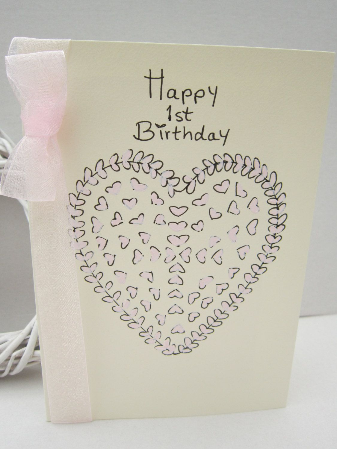 Special 1st Birthday Handpainted Card First Girl Baby Daughter Can Personalise By