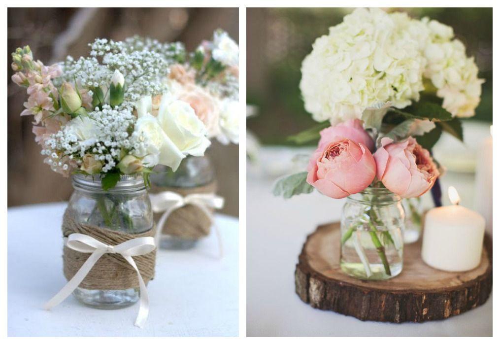 02-reciclaje-bodas-botes-cristal-centro-mesa IDEES Pinterest