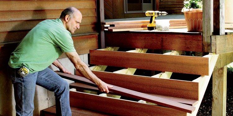 gartentreppe aus holz selber bauen anleitung trittstufen wetterfeste holzart treppe pinterest. Black Bedroom Furniture Sets. Home Design Ideas