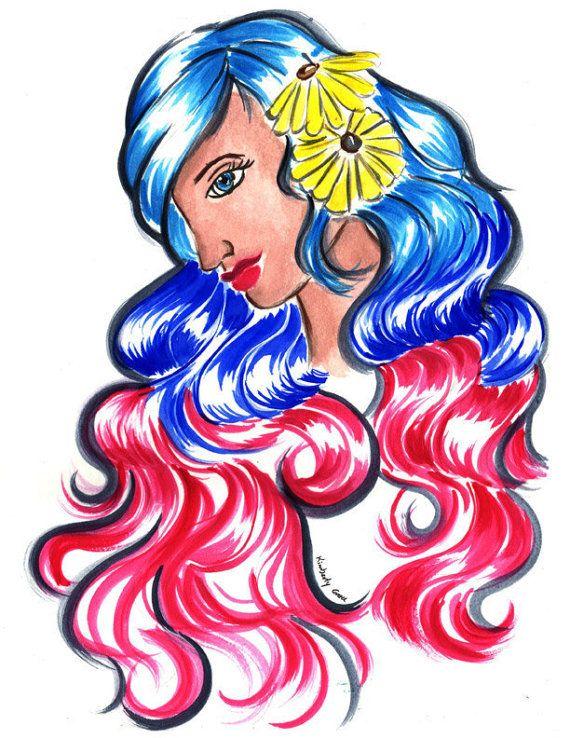 My Sunny Girl  Multi  Colored Hair Print by RedMothArtShop on Etsy