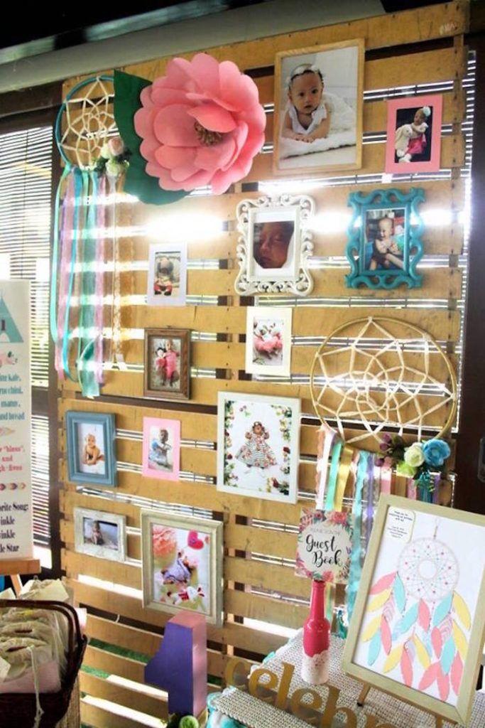 Boho Photo Wall From A Chic Birthday Party On Karas Ideas