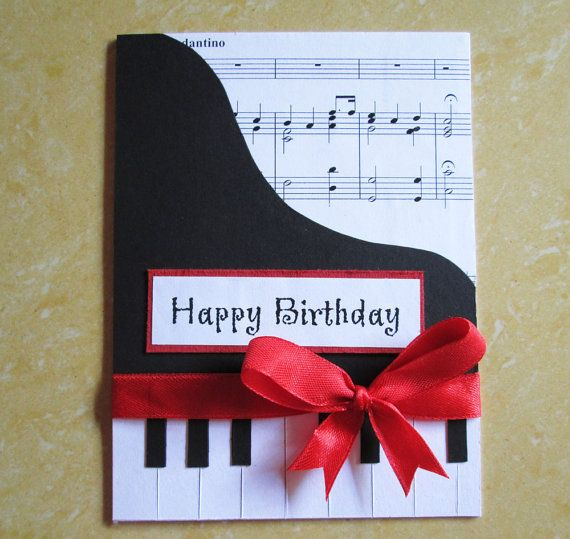 Piano Happy Birthday Card Music Themed Greeting For Wife Mom Girlfriend Dad Husband Boyfriend Black And White