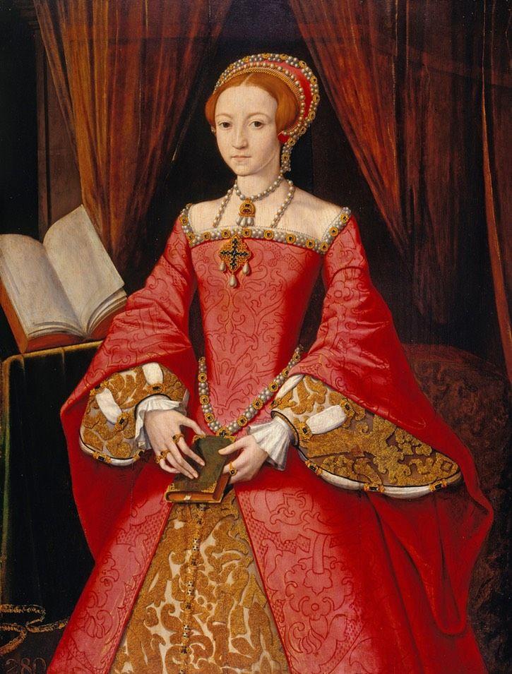 Elisabet I, 1546. Maalannut ehkä William Scrots. Vyötärölinja laskenut aika paljon Jane Seymoriin verrattuna. Onko kyse kymmenessä vuodessa tapahtuneesta muodin muutoksesta vai maalarin näkemyksestä, en tiedä enkä jaksa ottaa selvää :)