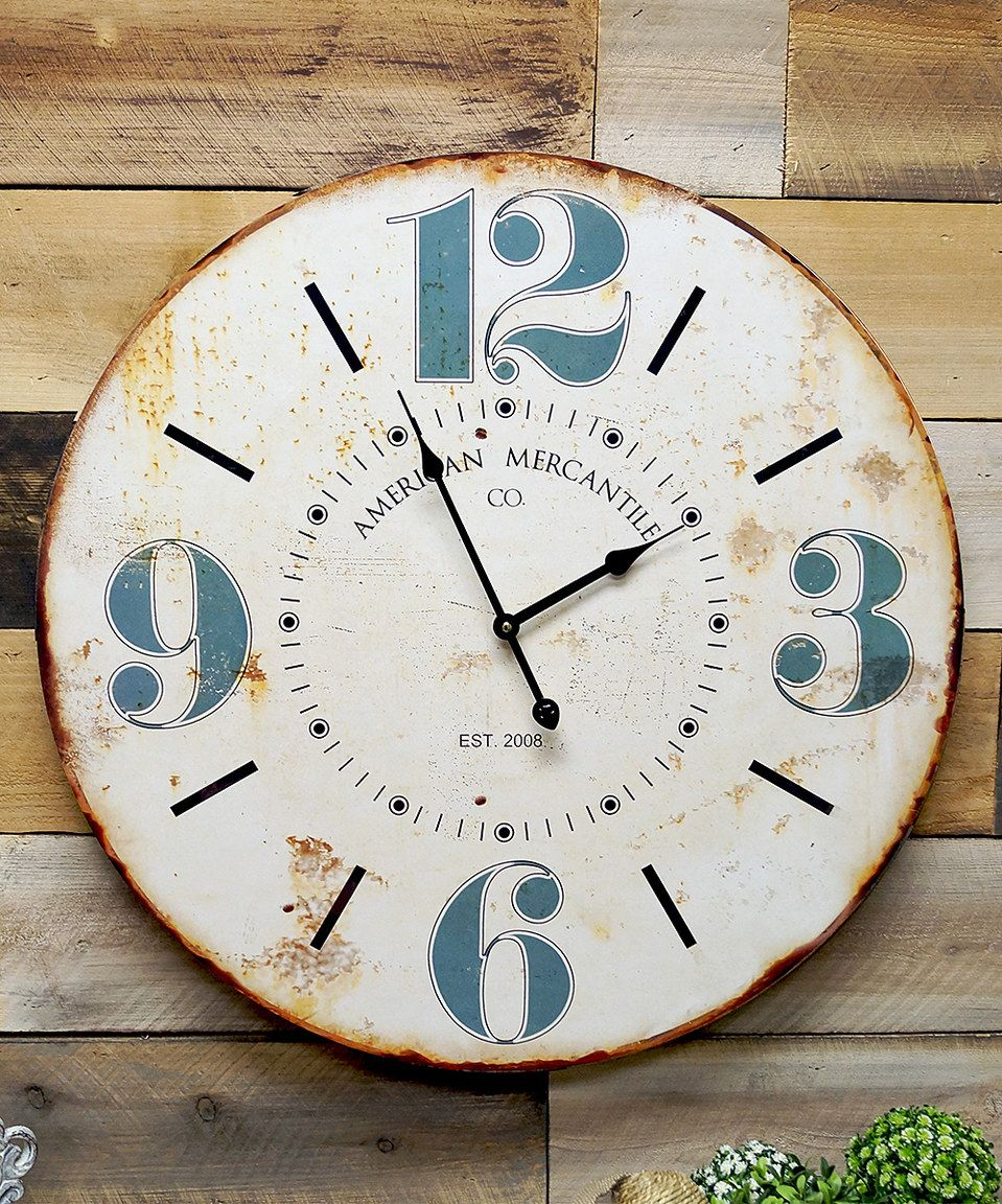 Look at this #zulilyfind! White & Blue Wall Clock by VIP International #zulilyfinds