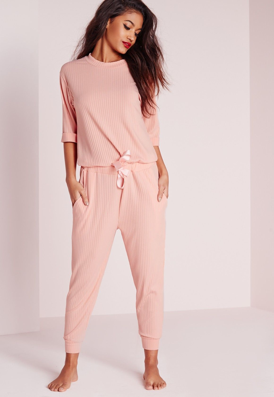 51cd54c79a2 Missguided - Ribbed Slouch Loungewear Onesie Pink