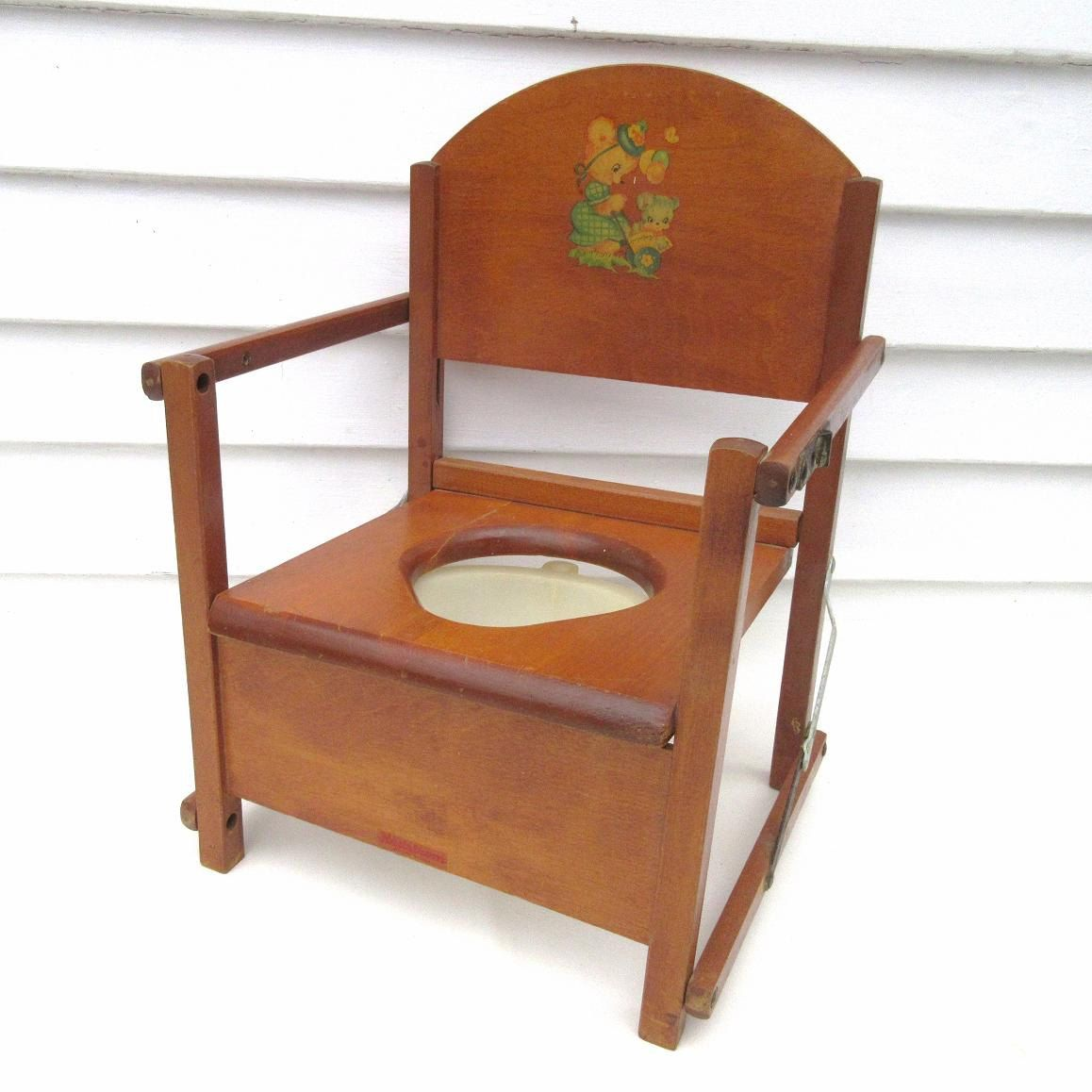 Vintage Potty Chair / Childs Folding Chair / Wood Potty Chair ...