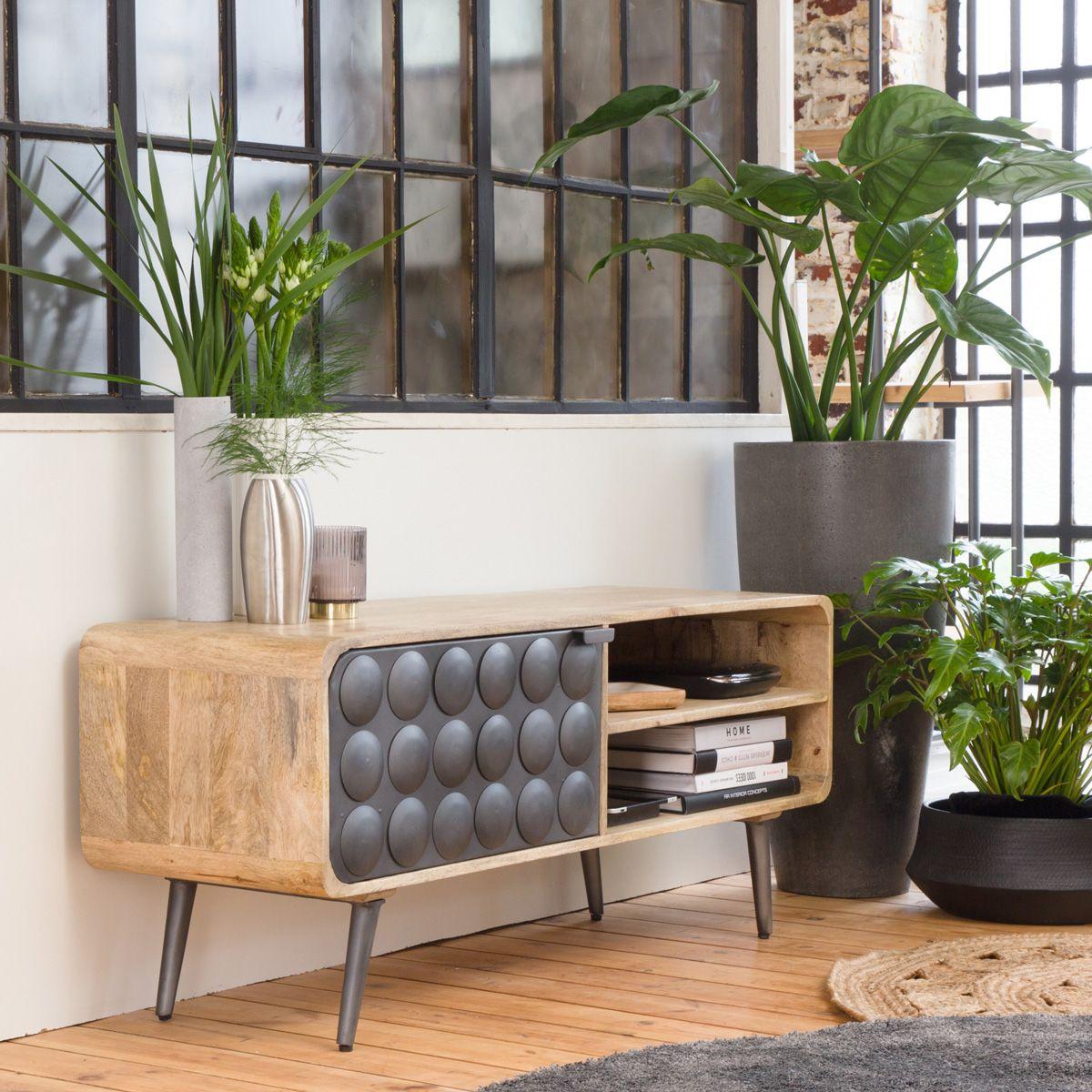Meuble Tv Retro Rond Gris 1 Porte Meuble Tv Mobilier De Salon Meuble En Pin