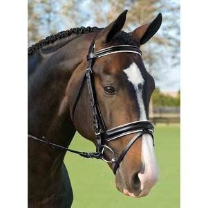The Crown Premier Dressage Bridle features a traditional and elegant look. The crown, browband and noseband are all padded for your horse's comfort. A great choice for a high end look at a reasonable price.