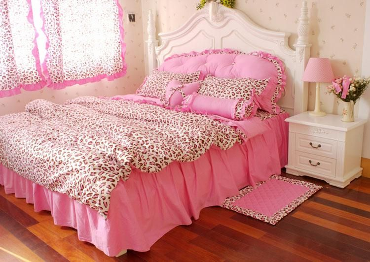 Korean Pink Leopard Print Princess Bedding Comforter Set Full Queen Size Duvet Cover Quilt Bed Linen Sheet Bedspread Bedclothes, $105.79 | DHgate.com