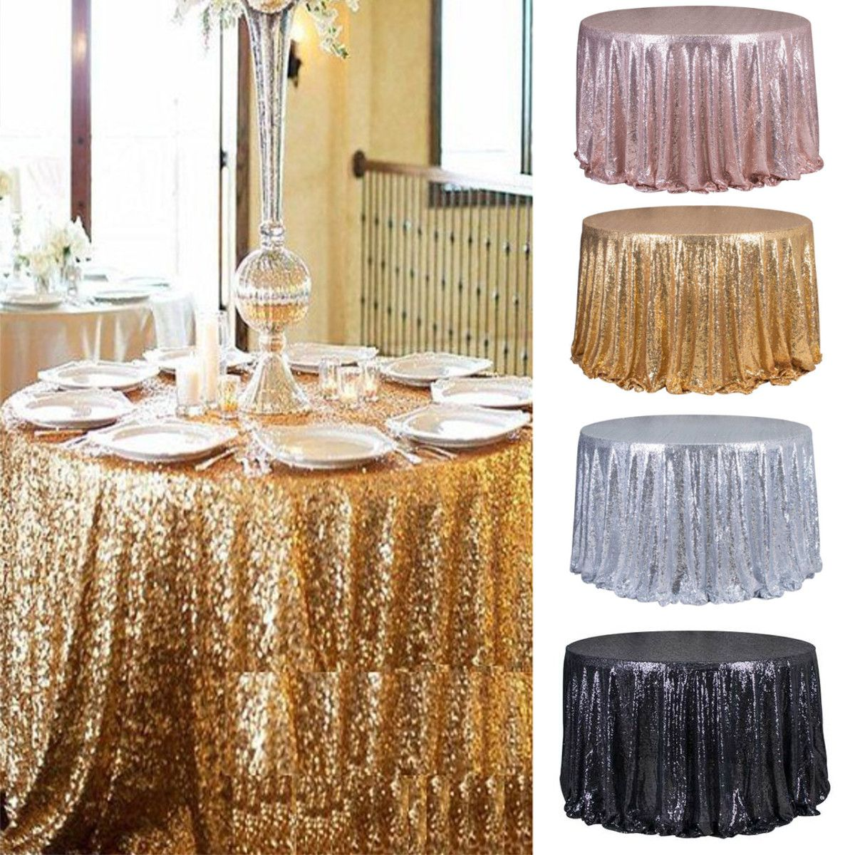 48 Round Sparkle Sequin Tablecloth Cover For Wedding Party Banquet Cake Dessert Table Exhibition Sequin Tablecloth Glitter Table Cloths Cake Table Decorations
