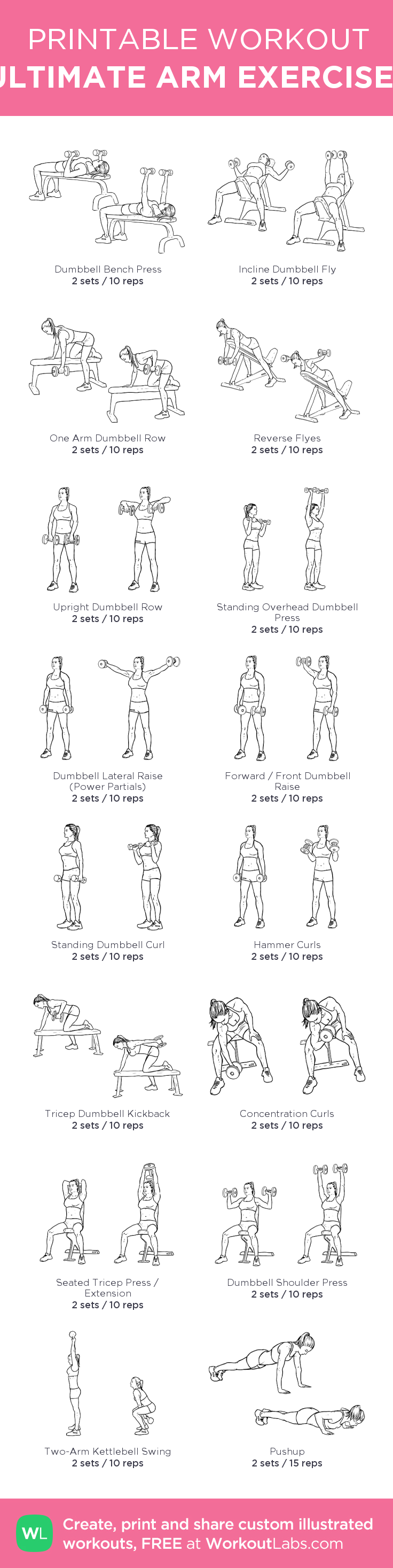 ULTIMATE ARM EXERCISES: my custom printable workout by @WorkoutLabs