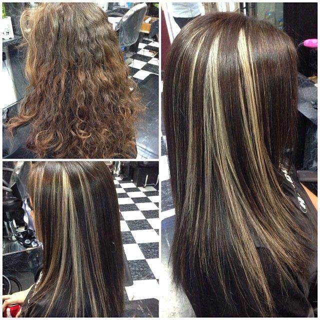 Dark Brown With Blonde Peekaboos Dark Hair With