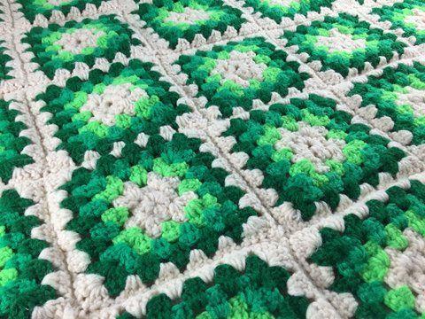 Vintage Retro Crochet Handmade Green Ivory Granny Square Afghan Blanket Bedding For St. Patrick's Day