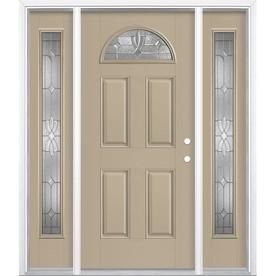 Masonite Laurel 1 4 Lite Decorative Glass Left Hand Inswing Sandy Shore Painted Fiberglass Pre Hung Entry Door With Side Entry Doors Entry Door With Sidelights Easy Install