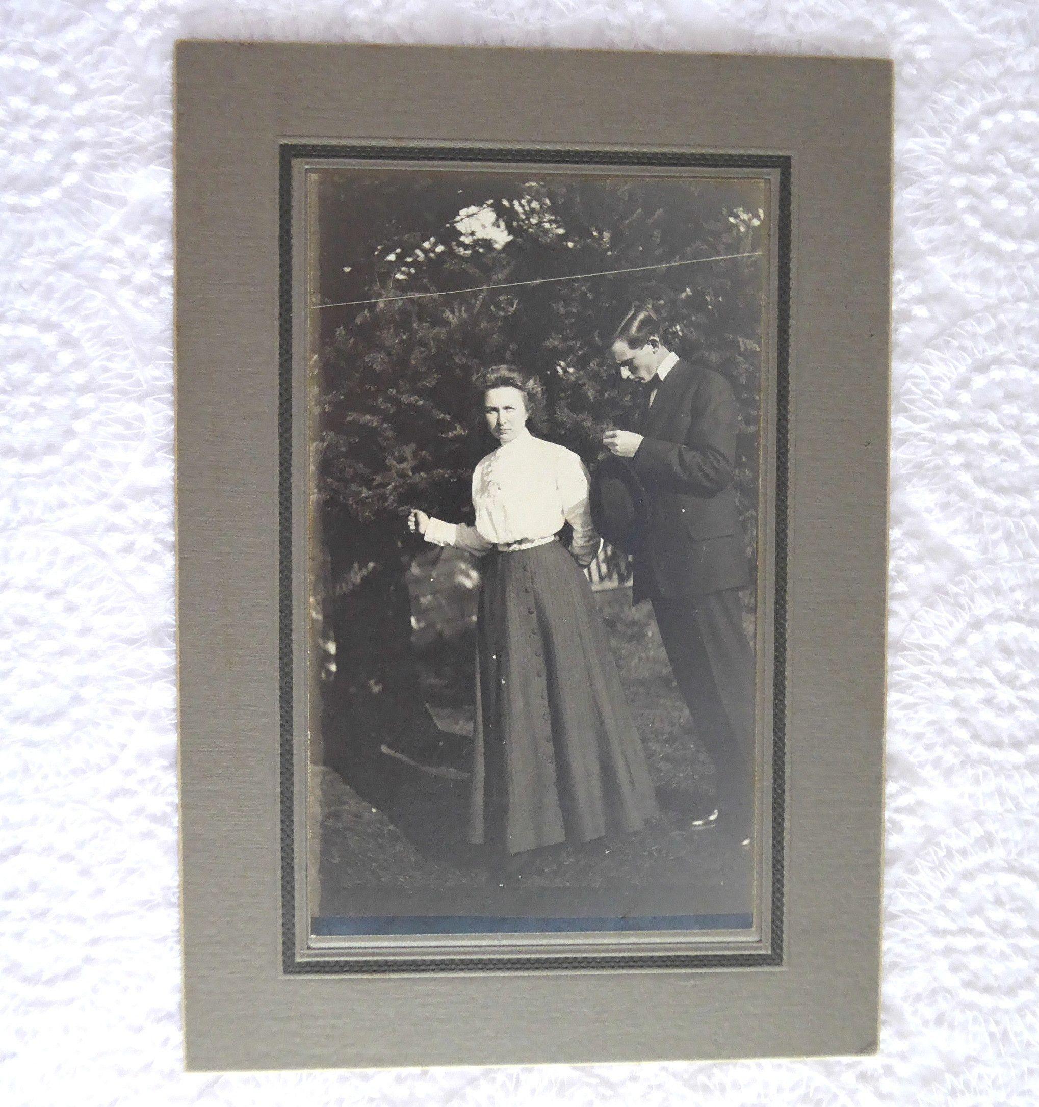 Cabinet Card Photo Edwardian Couple Shirtwaist Looking Shy 1890-1910 Early Photo