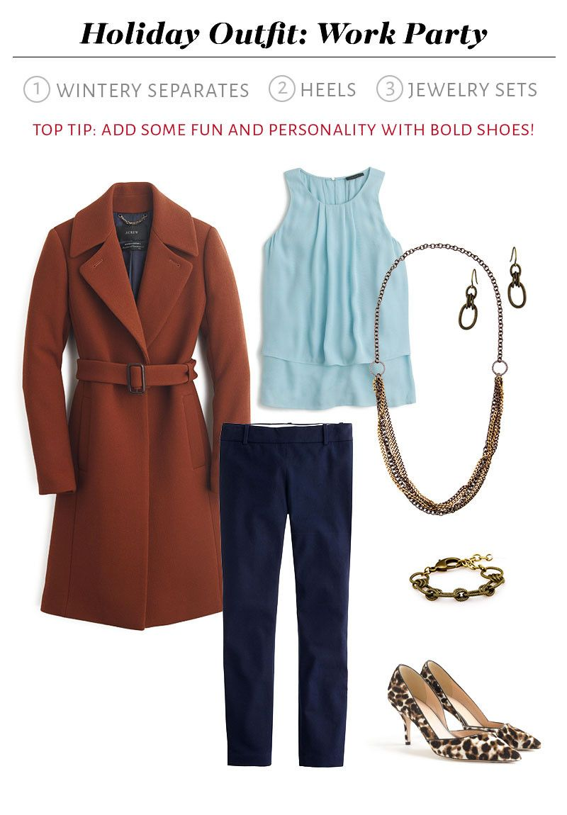 What to Wear to Your Holiday Work Party - wintery separates, fun heels, jewelry sets