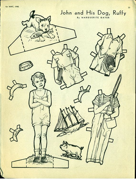 Antique 1945 Magazine Uncut Paper Doll John and His Dog Ruffy by Marguerite Gayer