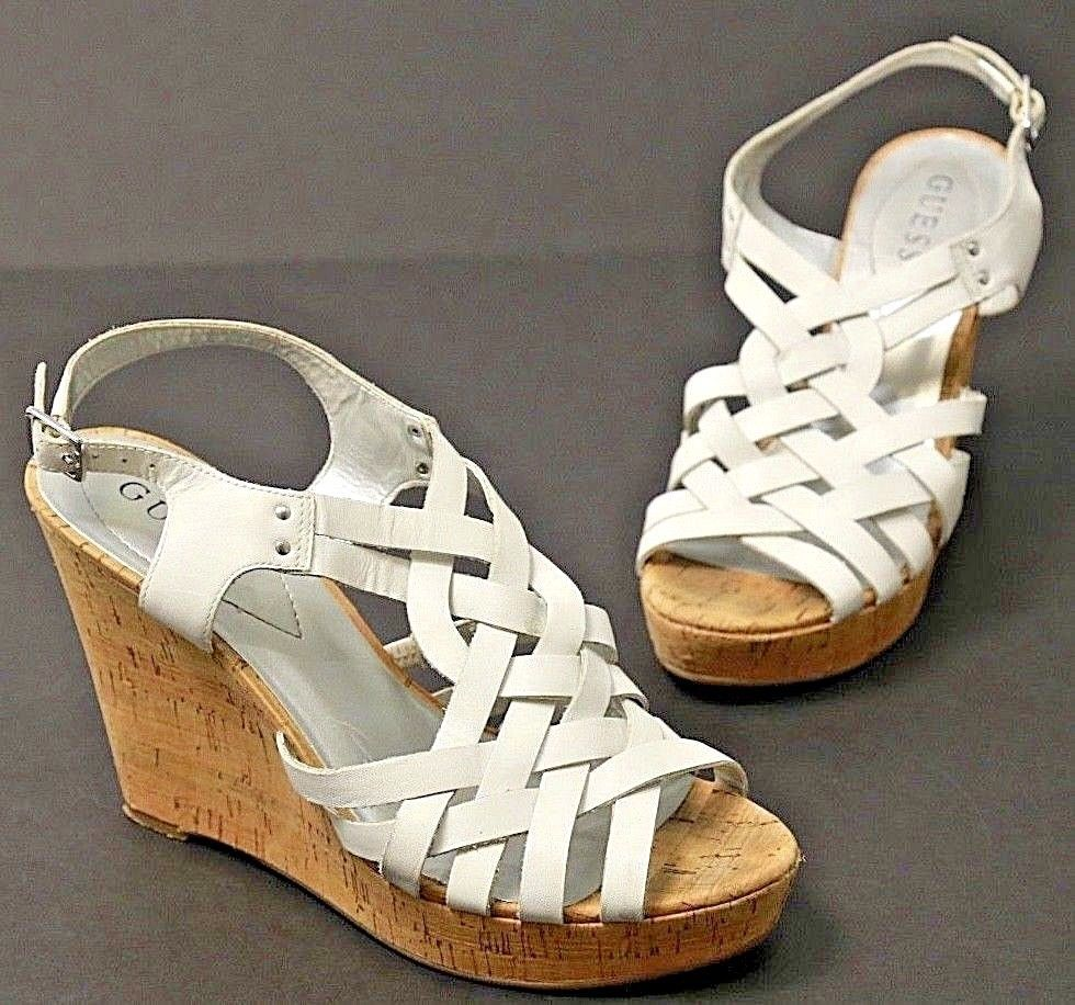674fbef6ab GUESS Strappy White Leather Cork Wedge Sandals Shoes Size 8 #GUESS #Strappy