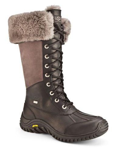 Ugg Adirondack Tall Leather Boots Women's Black 6.5