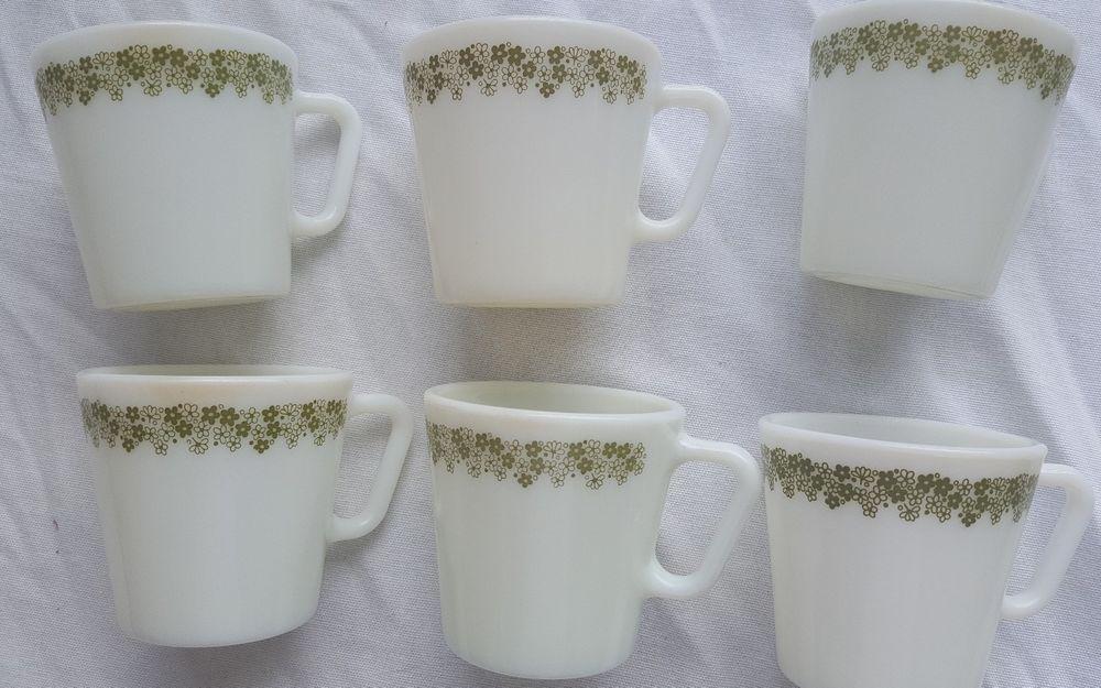 Pyrex crazy daisy coffe mugs set of 6 vintage milk tea cup #1410 ...