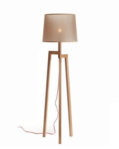 modern wooden tripod floor lamp artistic brown fabric light shade lbmdzm