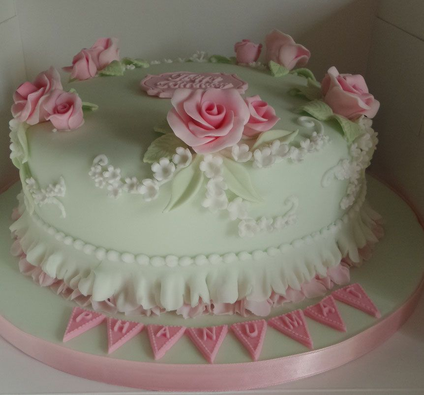 Ladies Vintage Birthday Cake In Pale Green With Pink Roses And White