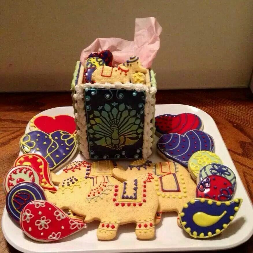 Sugar Rush:  Cookie box with elephants, paisley, hearts and rounds.   India inspired design.