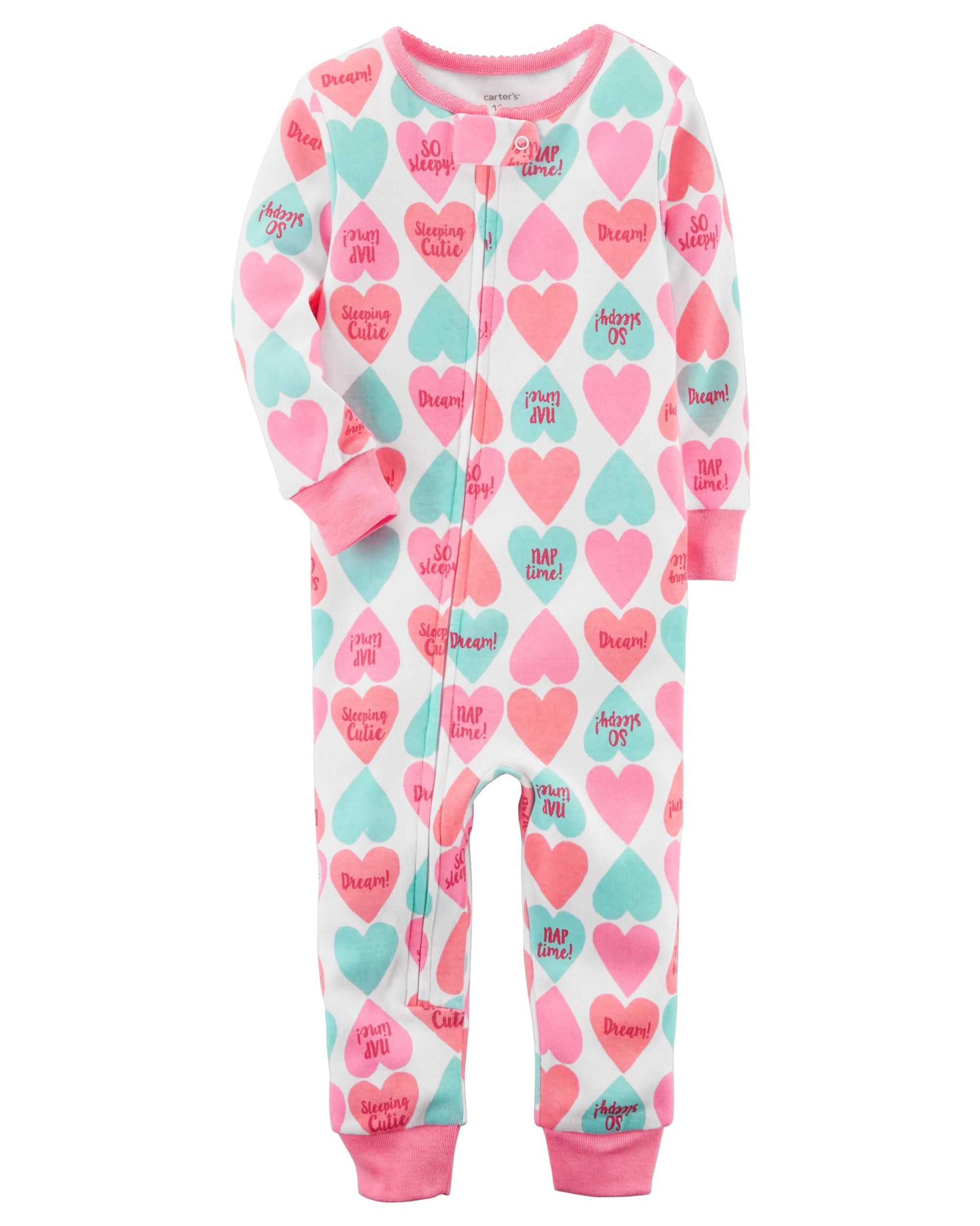 Carter/'s Girl/'s White Multi Color Heart Footed Pajamas PJs Size 4T