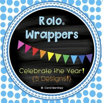 Rolo  Wrappers are printables that wrap perfectly around a Rolo candy.  Celebrate special occasions with these adorable, rainbow colored pendant designs.  You will receive five styles with the following phrases printed on the wrappers:Celebrating a GREAT school year!Ready, Set, Go--Have a GREAT summer!Thank you for Volunteering!Happy Birthday!Welcome Back to School!