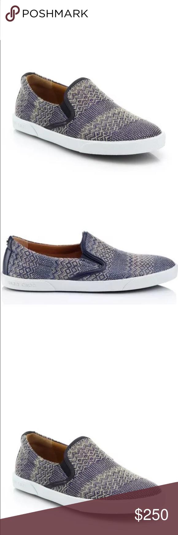63eac864a23e Jimmy Choo Woven Fabric Slip On Sneakers 9.5 39.5 NIB JIMMY CHOO Demi Woven  Fabric Slip
