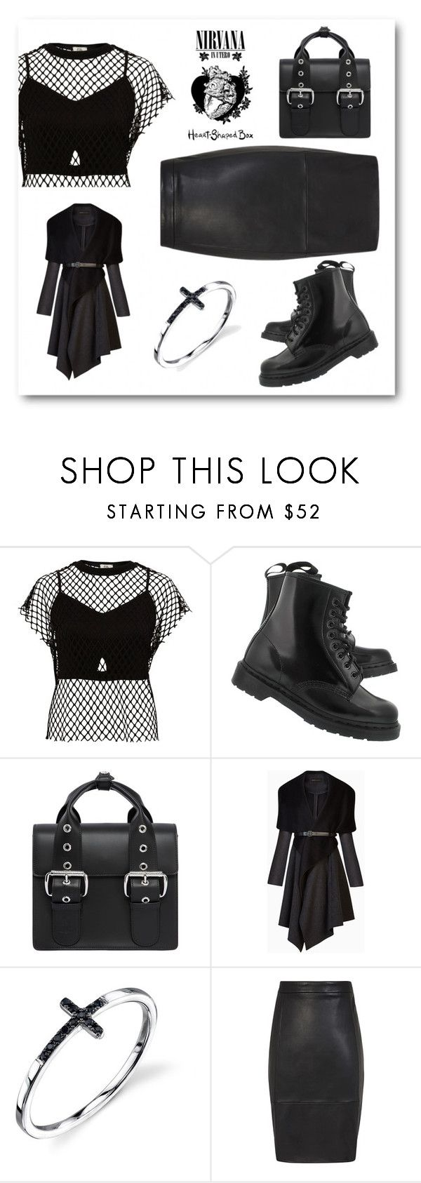 """in black"" by natalia-isikova ❤ liked on Polyvore featuring River Island, Dr. Martens, Vivienne Westwood and BCBGMAXAZRIA"