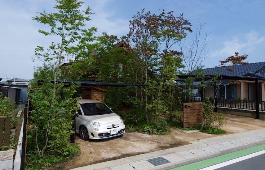 雑木の庭 ログハウス 駐車場は三和土 土 石灰 塩 エクステリア