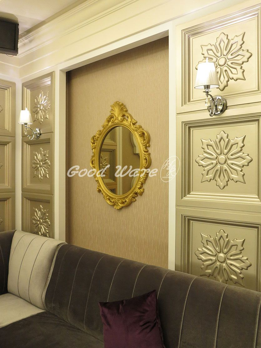 Add a beautiful mirror frame molding on the empty wall! U can choose ...