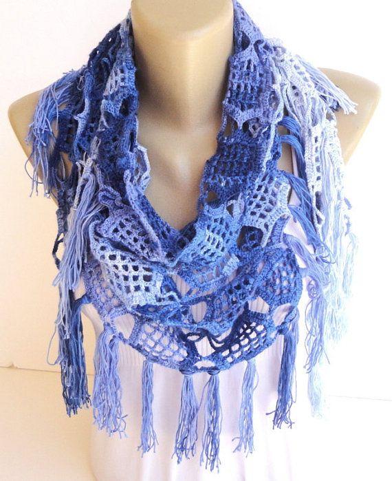 blue Cotton Scarf Crochet Pareo Swimwear Crochet by senoAccessory